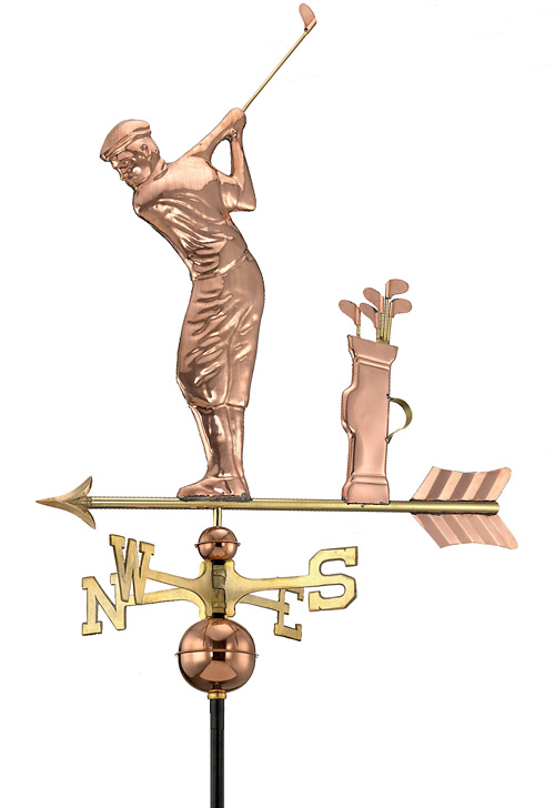 Golfer Polished Handcrafted Pure Copper Weathervane -0