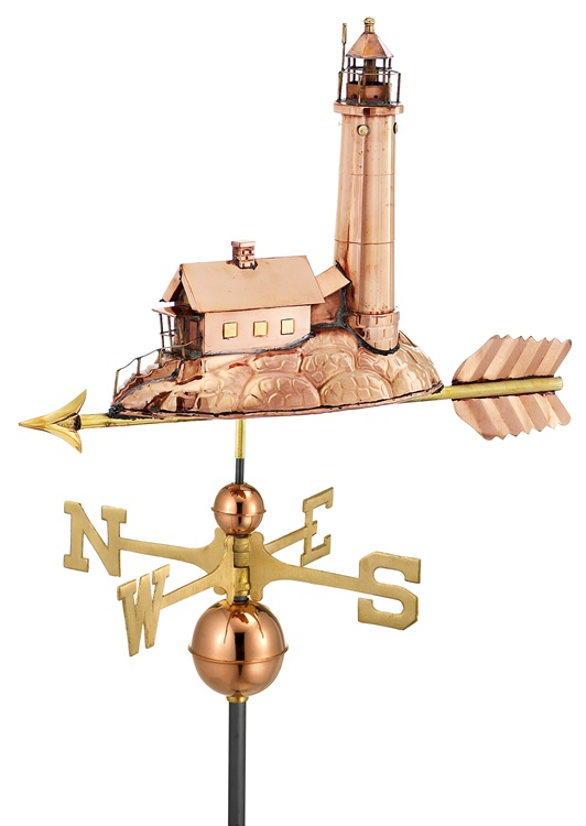 Lighthouse Pure Handcrafted Copper Weathervane -0