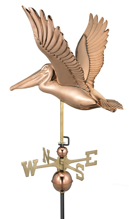 Two Story Home Size Pelican Pure Copper Handcrafted Weathervane -46