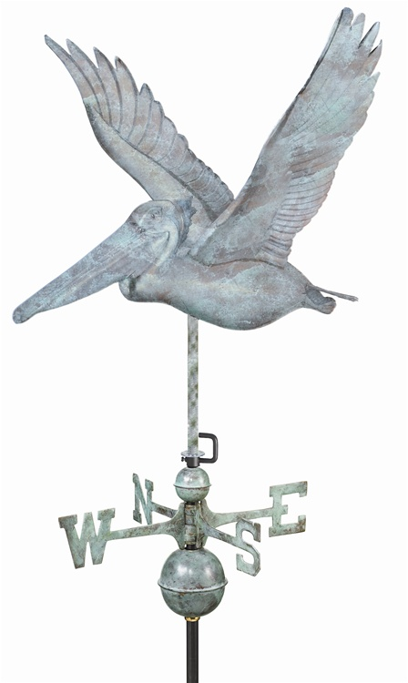 Two Story Home Size Pelican Pure Copper Handcrafted Weathervane -45
