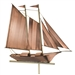 Two Story Home Size Schooner Puer Copper Weathervane-4677