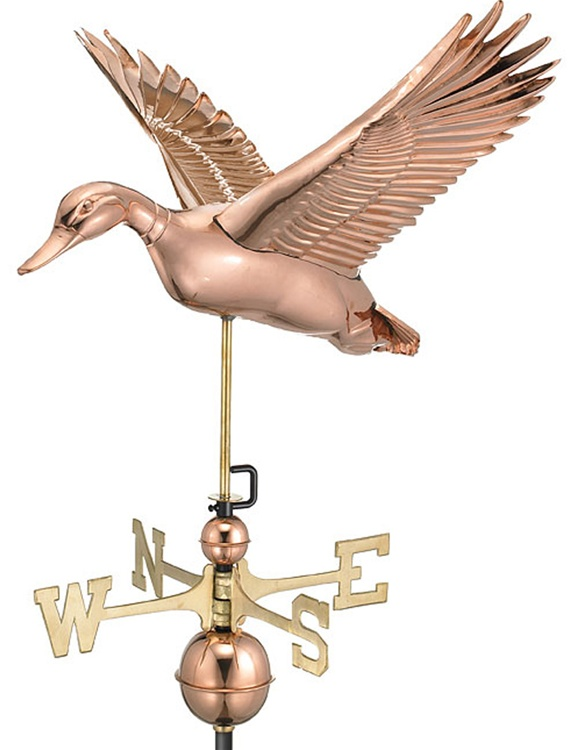 Two Story Home Flying Duck Pure Copper Hand Crafted Weathervane -0
