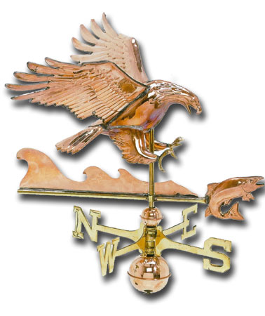 Eagle with Fish 3-D Copper Weathervane-359
