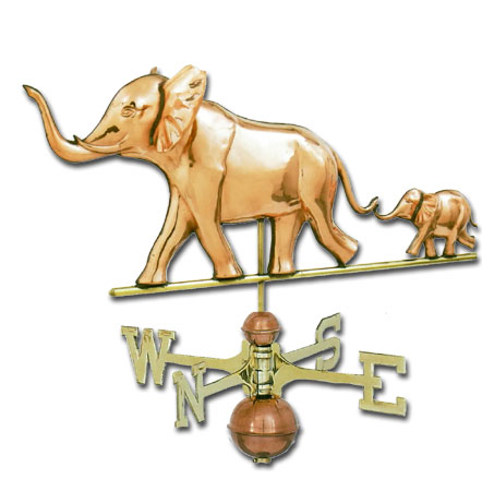 Elephant with Baby 3-D Copper Weathervane-0