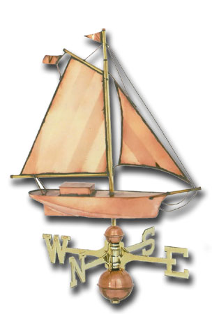 Small Sloop Copper Weathervane-0