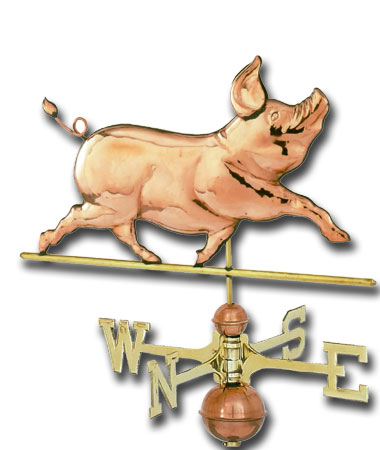 Whimsical Pig Copper Weathervane-0