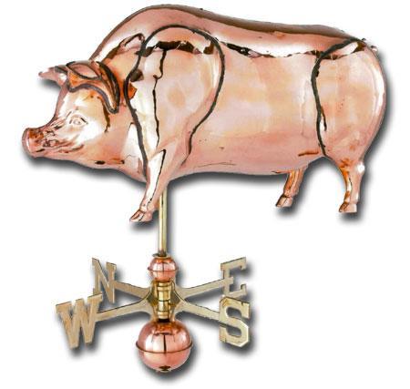 Jumbo Pig 3-D Copper Weathervane-0