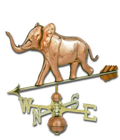 Jumbo Elephant 3-D Copper Weathervane-0