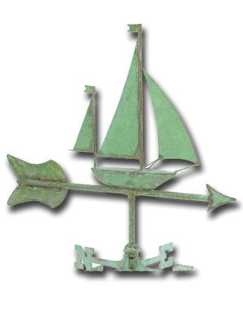 Sailboat Garden Copper Weathervane-0