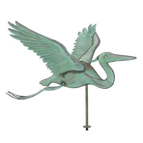 Ornate Copper Heron Rooftop Weathervane-3906