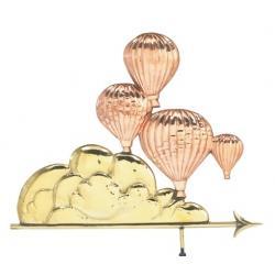Balloonist in Flight Copper Weather Vane-0