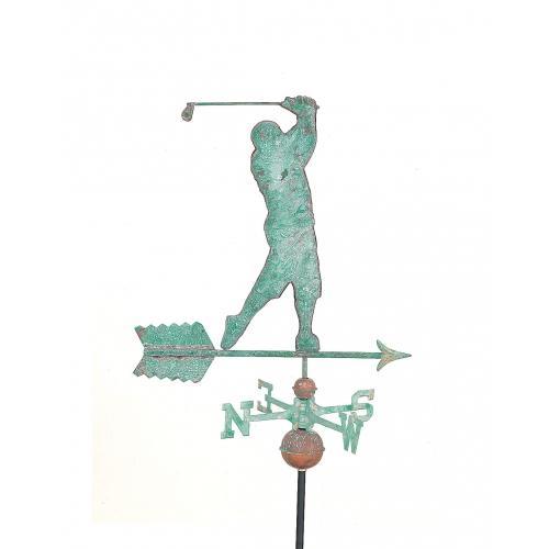 Golfer Swinging Copper Weathervane -3962
