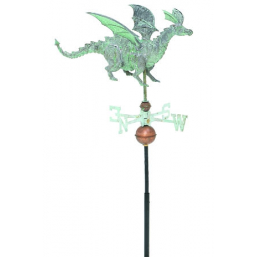 Dragon 3-D Garden Copper Weathervane-3863