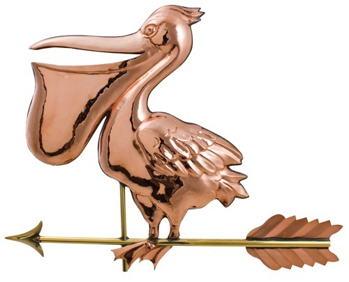 Large Pelican Poished Copper Weathervane-0
