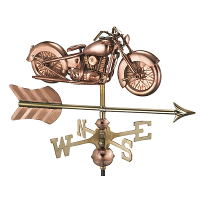 Cottage Sized Motorcycle Pure Copper Handcrafted Weathervane-4684