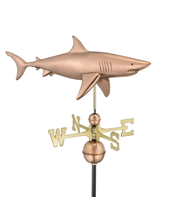 Two Story Home Size Shark Pure Copper Weathervane -0