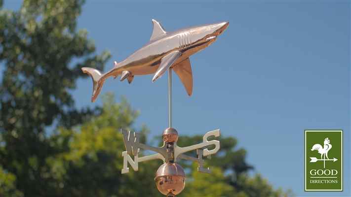 Two Story Home Size Shark Pure Copper Weathervane -4419