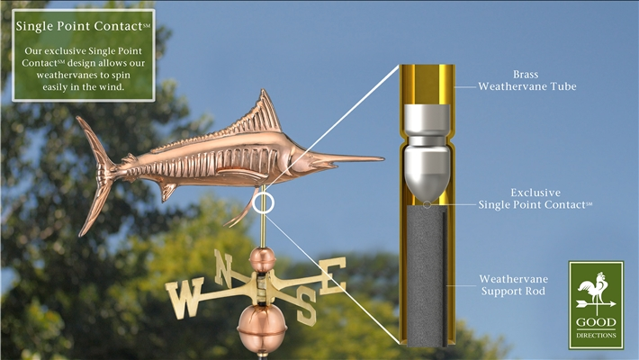 Marlin Outdoor Copper Weathervane -4539