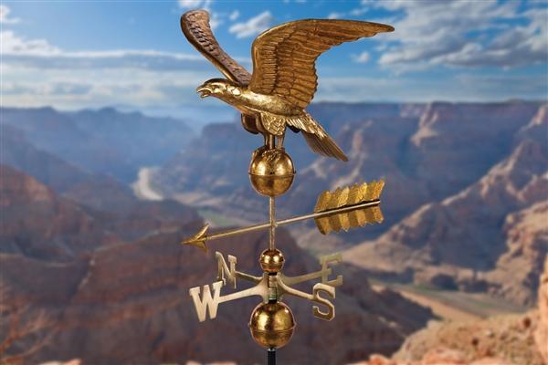 Smithsonian Eagle Weathervane with Golden Leaf Finish-4630