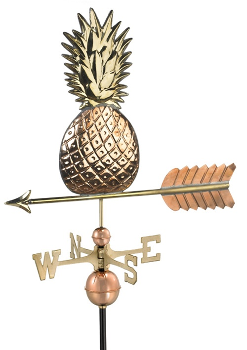 Two Story Home Pineapple Pure Copper Handcrafted Weathervane -0