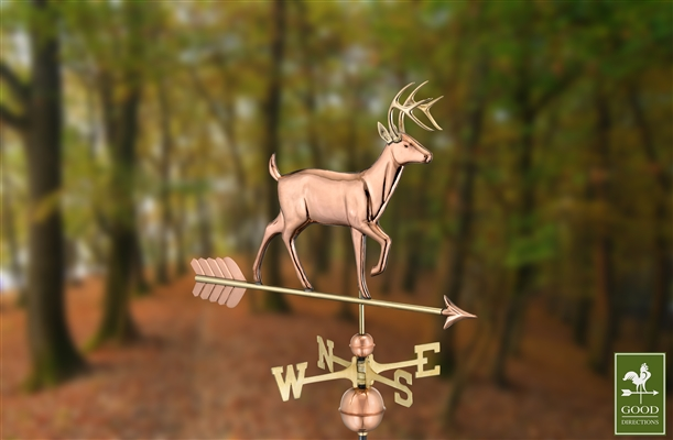 White Tail Buck Copper Hand Crafted Weathervane-4533