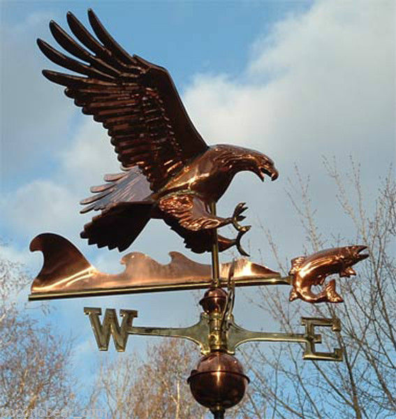 Eagle with Fish 3-D Copper Weathervane-705