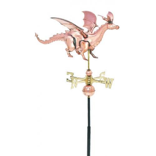 Dragon 3-D Garden Copper Weathervane-0