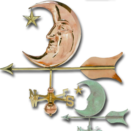 Moon and Star Copper Weathervane-0