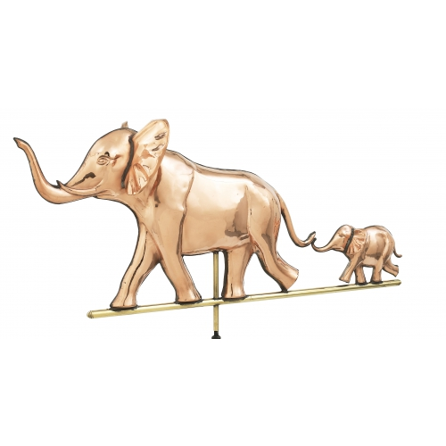 Elephant with Baby 3-D Copper Weathervane-3892